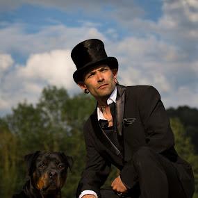 Gentlemen by Manuela Kägi - People Portraits of Men ( gentlemen, friends, dog, man )