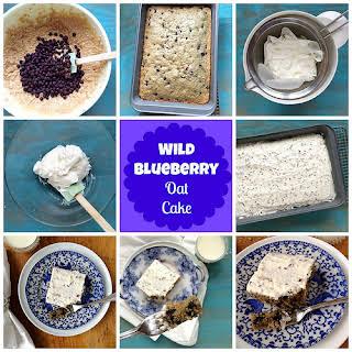 Wild Blueberry Oat Cake with Greek Yogurt Frosting.