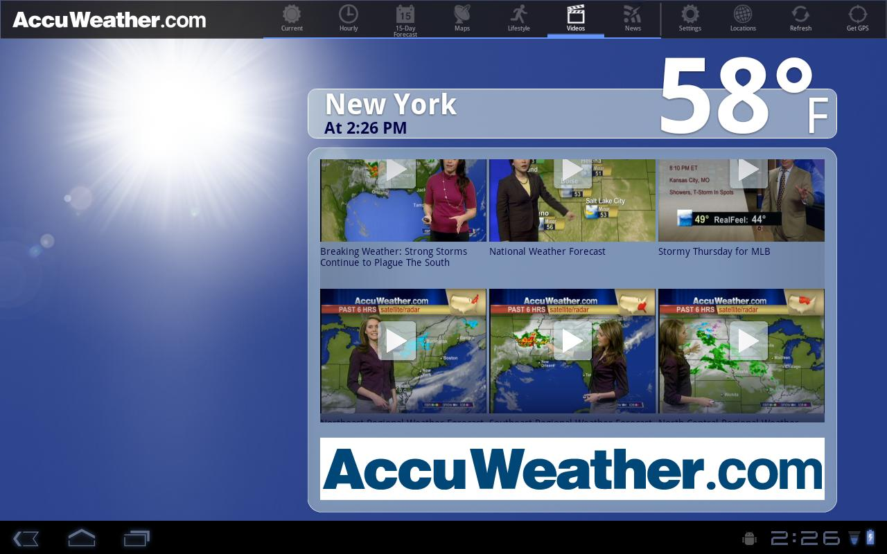 AccuWeather for Sony Tablet S- screenshot