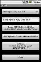 Screenshot of Strelok. Ballistic calculator