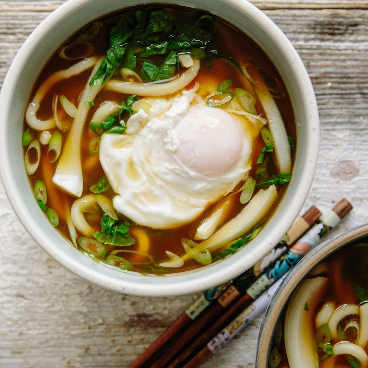 Udon Noodle Soup with Bok Choy and Poached Egg