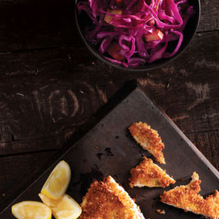 Lemon Pork Schnitzel with Braised Sweet & Sour Cabbage.