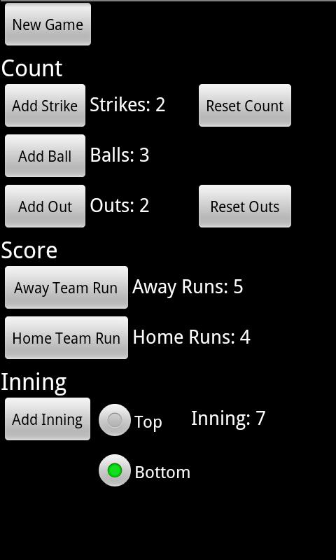 Baseball Softball Pitch Count - screenshot
