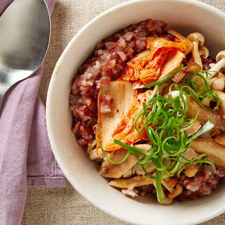 Red Rice Congee with Chicken, Kimchi, and Mushrooms.