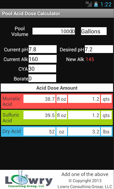 Pool Acid Dose Calculator- screenshot