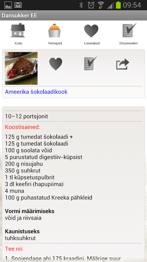 Dansukkeri retseptikogumik - screenshot