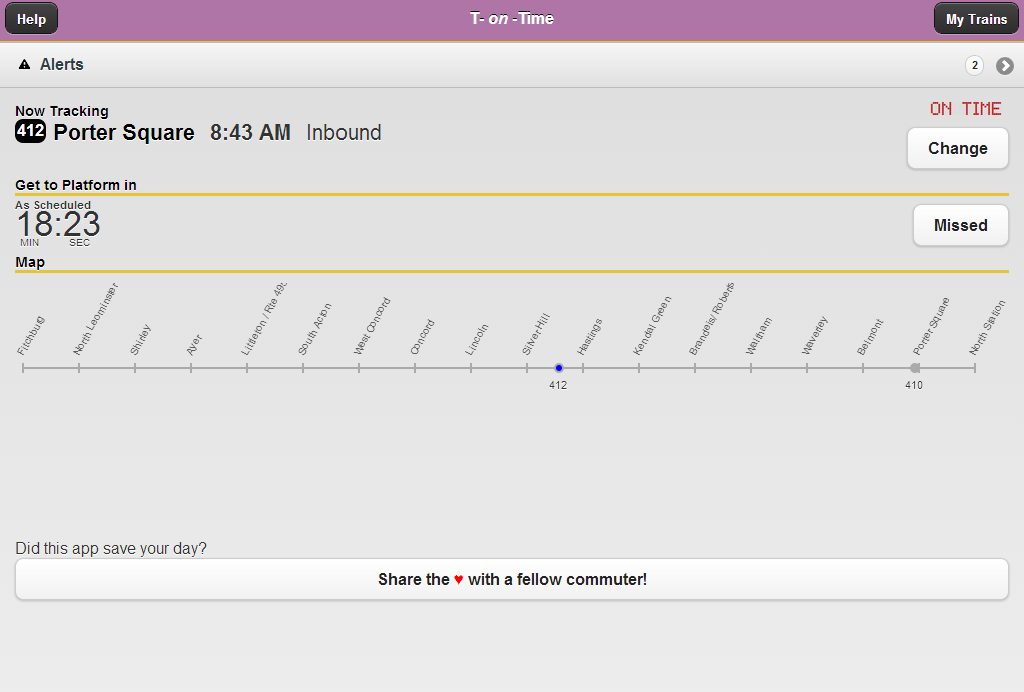 T-on-Time Boston Commuter Rail - screenshot