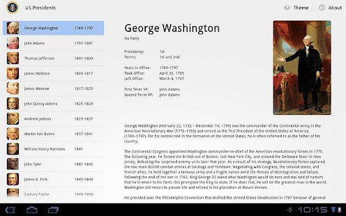 US Presidents for Tablet- screenshot thumbnail