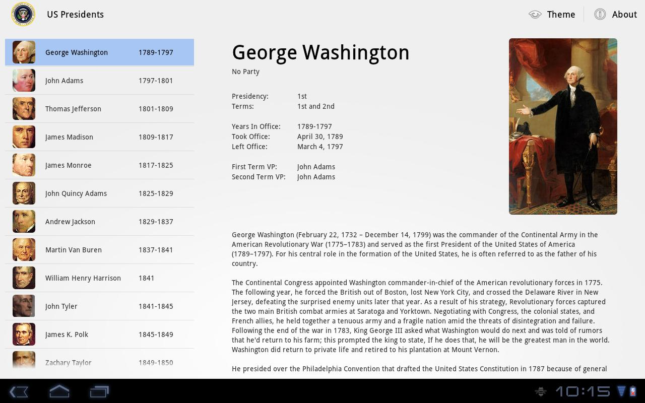 US Presidents for Tablet- screenshot