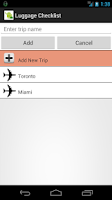 Screenshot of Luggage & Suitcase Checklist