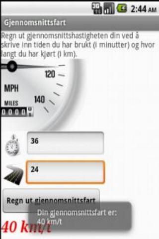 Gjennomsnittsfart- screenshot