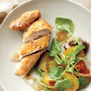 Quick Roasted Chicken with Potatoes, Onions, and Watercress