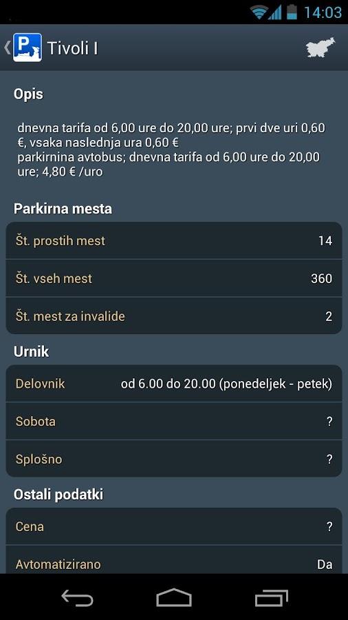 Parkirišča- screenshot