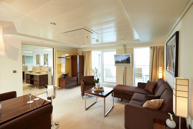 The Grand Penthouse Suite exemplifies the feeling of spaciousness aboard Europa 2, with separate sleeping and living areas, a private, roomy veranda, a whirlpool and more.