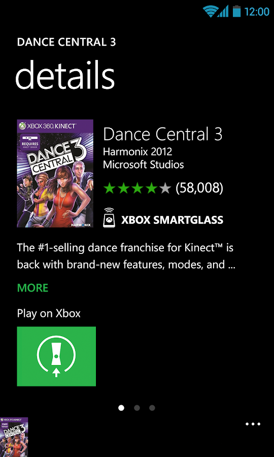 Xbox 360 SmartGlass: screenshot