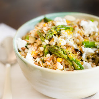 Meyer Lemon Grain Salad with Asparagus, Almonds and Goat Cheese.