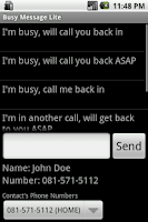 Screenshot of Busy Message