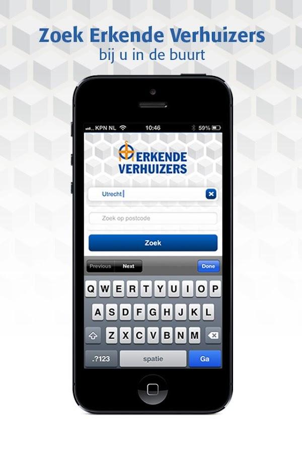 Erkende Verhuizers App- screenshot