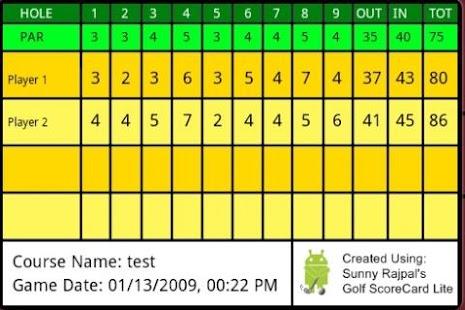Golf ScoreCard Lite - screenshot thumbnail