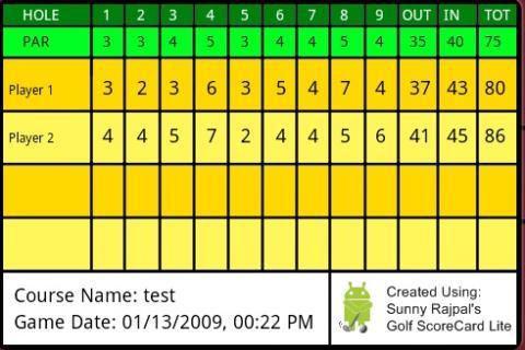 Golf ScoreCard Lite - screenshot