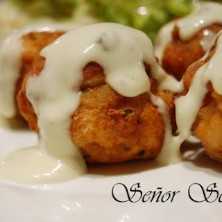 Monkfish Meatballs with Blue Cheese Sauce.