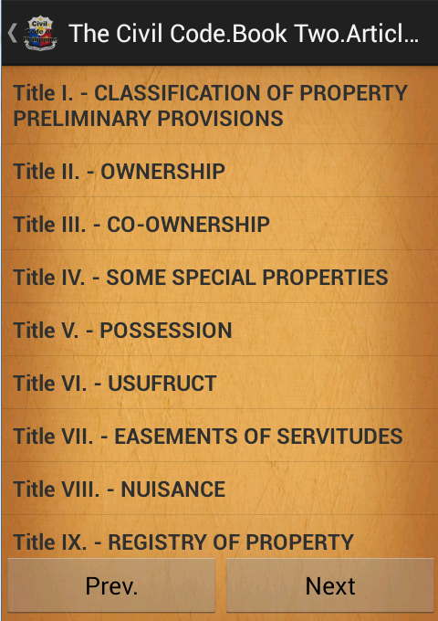 the civil code of the philippines Book i - persons title i - civil personality title ii - citizenship and domicile the  family code of the philippines title i - marriage title ii - legal separation.