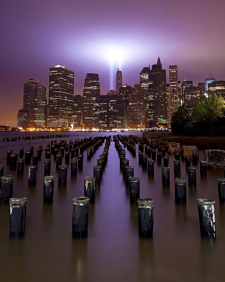 United We Rise | 9/11 Tribute In Lights by Brandon Ku - City,  Street & Park  Skylines ( urban, skyline, 9/11, united we rise, lifestyle, tribute in lights, dumbo, new york city, ny, city, brooklyn )