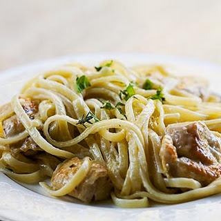 Chicken Pasta with Thyme-Mint Cream Sauce.