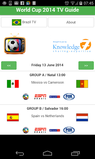 World Cup 2014 TV Guide