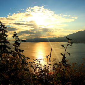 Before Sunset by Rhonda Silverton - Landscapes Waterscapes ( water, sunset, ocean, beach, bc, vancouver, british columbia,  )