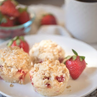 Strawberry Muffins with Coconut Oil and Greek Yogurt.