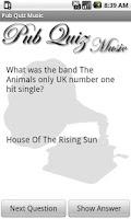 Screenshot of Pub Quiz Music