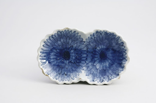 Dish, One of a Set of Five, Chrysanthemum Design in Underglaze Blue; Kosometsuke Type