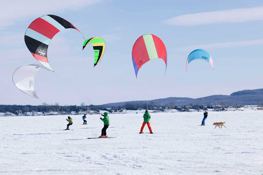 sailing-snow-Quebec - Sailing on ice and snow is growing in popularity in Laurentides (Laurentians), Quebec, Canada.