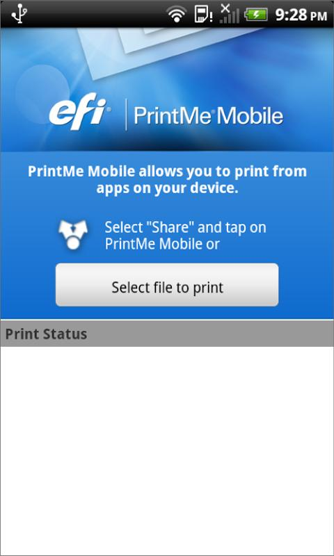 EFI PrintMe Mobile - screenshot