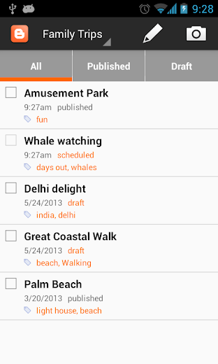 Screenshot 0 for Blogger's Android app'