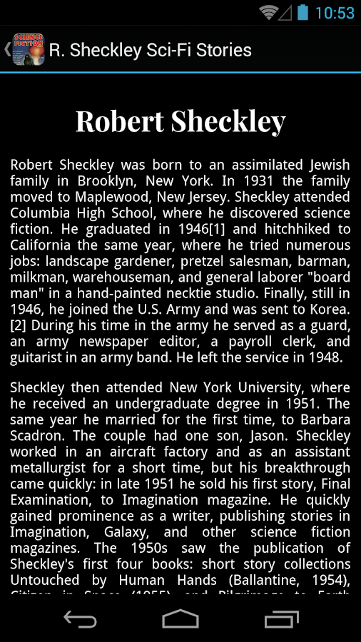 R. Sheckley Sci-Fi Stories- screenshot