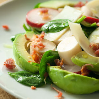 Spinach-Radish-Hearts of Palm-Avocado Salad with Lime Vinaigrette