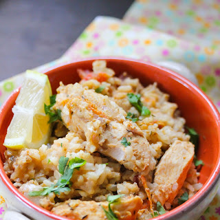 Slow cooker Caribbean peanut chicken.