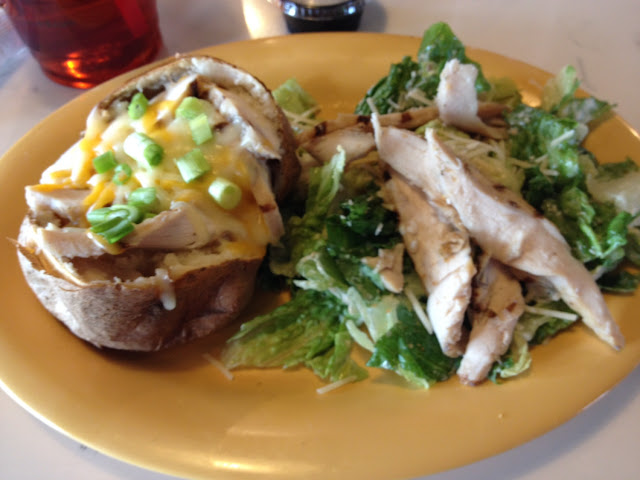I had the 1/2 chicken caesar salad, no croutons, & 1/2 grilled chicken spud.