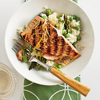 Salmon with Quick Spring Risotto.
