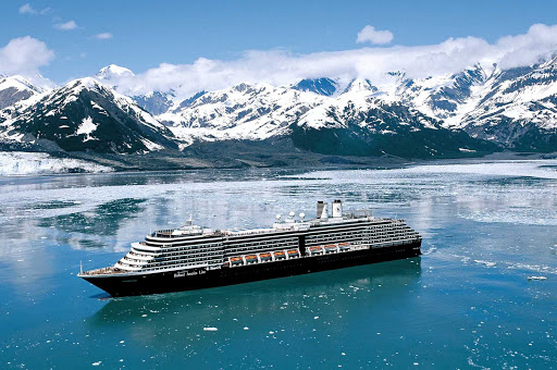 Holland-America-Oosterdam-in-Alaska - Holland America's Oosterdam sails by the Hubbard Glacier in Alaska.