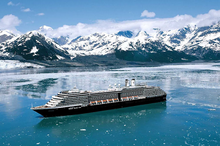 Holland America's Oosterdam sails by the Hubbard Glacier in Alaska.