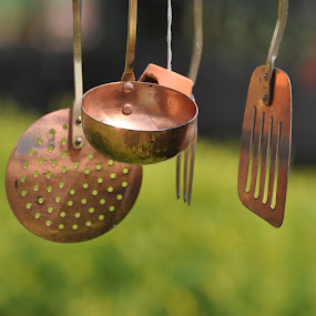 Unique Windchime by Viana Santoni-Oliver - Artistic Objects Cups, Plates & Utensils ( fork, blurry background, seasonal, musical, spatual, kitchen, wind chime, hanging, bronze, ladle, metal, sound, utensils )