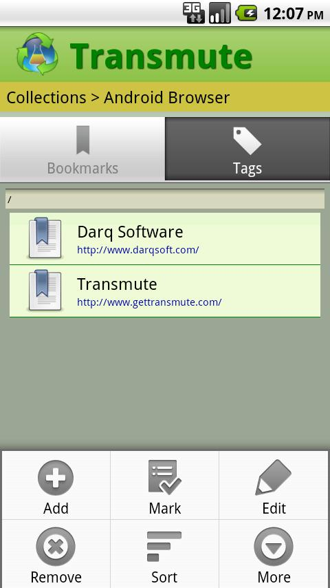 Transmute - Bookmark Sync - screenshot