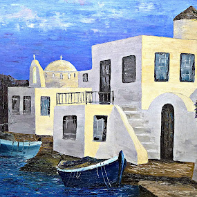 Sunny Greece by Amas Art - Painting All Painting ( blue, greece, boats, seaside, painting )