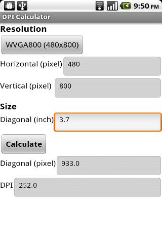 DPI Calculator (App Inventor) - screenshot