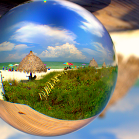 Summer fun by Elfie Back - Artistic Objects Glass ( orb, glass, sphere, beach,  )