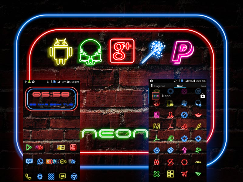 Screenshots of Neon Icon Pack for iPhone