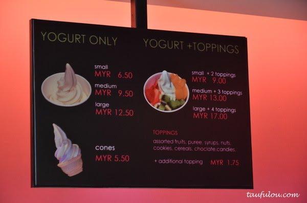 Menu & Price List @ Fruuze Frozen Yogurt - Malaysia Food